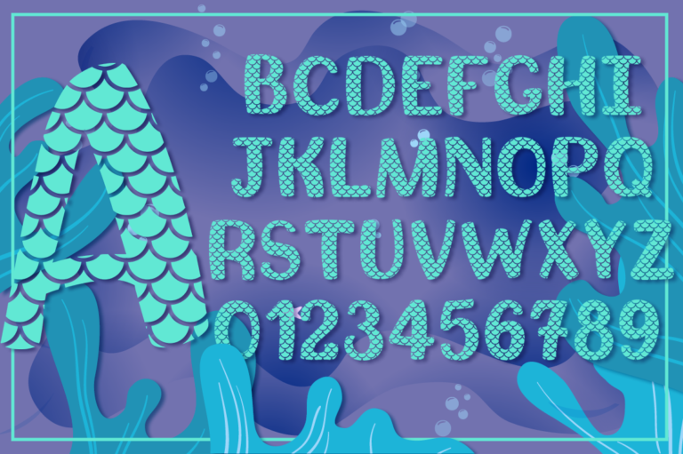 Mermaid Scales SVG Alphabet Preview 1