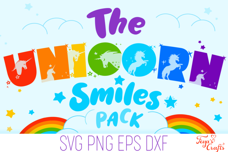 Unicorn Smiles SVG Alphabet Preview 1